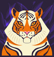 colorful portrait beautiful tiger on purple vector image vector image