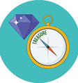Compass points to treasure Flat design Icon in vector image