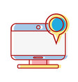 computer technology with magnifying glass icon vector image
