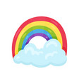 cute multicolored rainbow with big blue cloud vector image