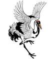 dancing crane bird vector image vector image