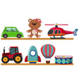 different types of toys on wooden shelves vector image vector image