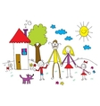 family in kids drawing style vector image vector image