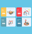 family leisure playing isometric people banner set vector image vector image