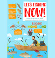 fisherman in boat catching fish rods and tackles vector image vector image