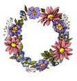 floral wreath of heartseases chrysanthemums and vector image