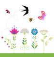 flowers set swallow butterfly ladybug beetle vector image vector image