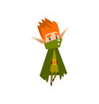 forest elf boy in green cape cute fairytale magic vector image vector image