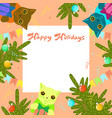 frame with cats and christmas trees happy vector image