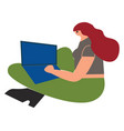 girl working on her laptop vector image
