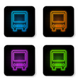 glowing neon bus icon isolated on white vector image