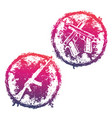 grunge emblems t-shirt prints with guns vector image vector image