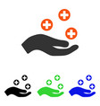 hand offer medicine flat icon vector image vector image