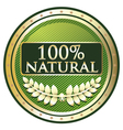 Hundred Percent Natural vector image vector image