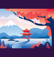 japanese red castle and snowy fuji mountain peak vector image vector image