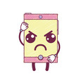 kawaii cute angry smartphone technology vector image