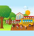 kids going to school by school bus vector image