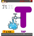 letter t educational worksheet with cartoon tap vector image vector image