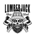 lumberjack bearded skull emblem with crossed axes vector image