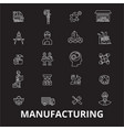 manufacturing editable line icons set on vector image