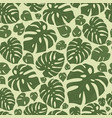 monstera tropical forest leaves background green vector image