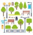 park elements urban outdoor decor lamppost and vector image