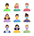 people wearing face mask set vector image vector image