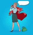 pop art business woman late at work busy girl vector image vector image