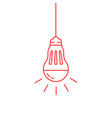 red thin line led bulb vector image vector image