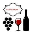 restaurant icon with grapes and wine glass vector image vector image