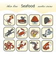 Seafood thin line icons set vector image vector image