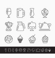 set black and white linear icons on theme vector image