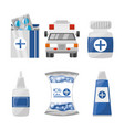 set medical first aid kit to pharmacy urgency vector image vector image
