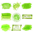 set of watercolor green logo vector image