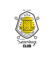 sewing club logo design emblem with heraldic vector image vector image