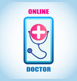smartphone screen with medical institution symbol vector image