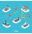 Social network isometric flat vector image vector image