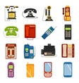 Telephones icons communication call contact device vector image