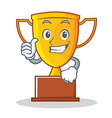 thumbs up trophy character cartoon style vector image