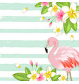 tropical background with flowers and flamingo vector image