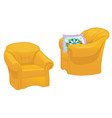 two yellow armchairs with pillow isolated vector image vector image