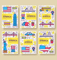 usa brochure cards thin line set country vector image vector image