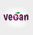 vegan logo color vector image vector image
