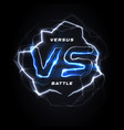 versus vs round blue logo battle headline vector image vector image