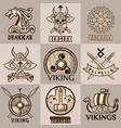 viking mythology symbols and icons vector image vector image
