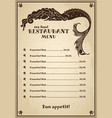 vintage menu for pub cafe restaurant with sea vector image vector image