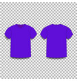 violet men s t-shirt template v-neck front and vector image vector image
