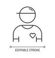 volunteer linear icon charity organization member vector image vector image