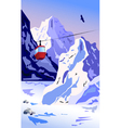 Winter Mountains with ropeway vector image