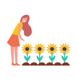 woman working in garden with flowers cartoon icon vector image